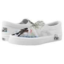 Christmas, funny bird and horse with chirstmas hat Slip-On sneakers