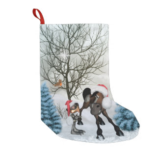 Christmas, funny bird and horse with chirstmas hat small christmas stocking