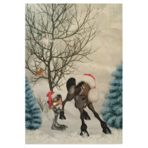 Christmas, funny bird and horse with chirstmas hat wood poster