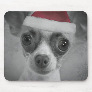 Christmas Funny Chihuahua Puppy with Santa Hat Mouse Pad