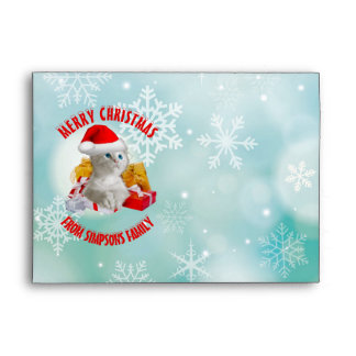 Christmas Funny Cute Kitty Cat With Cool Santa Hat Envelope