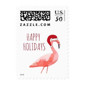 Christmas funny flamingo postage Santa hat