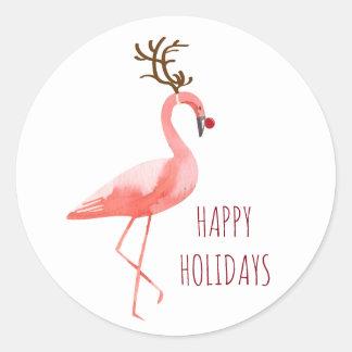 Christmas funny flamingo Rudolf reindeer wishes Classic Round Sticker
