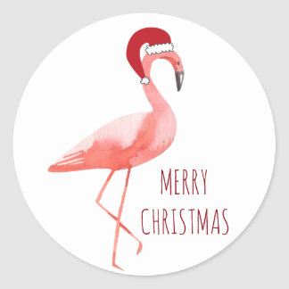 Christmas funny flamingo Santa hat wishes Classic Round Sticker