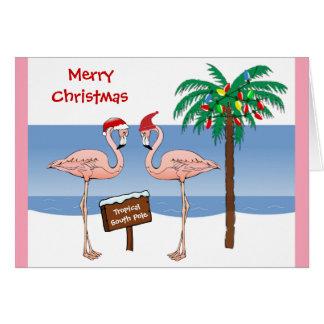 Christmas Funny Flamingos at the South Pole Beach Card
