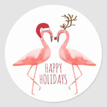Christmas funny flamingos couple santa and rudolph classic round sticker