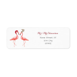 Christmas funny flamingos personalized label