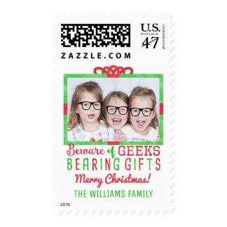 Christmas Funny Geeks | Family Holiday Photo Postage