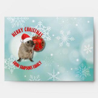 Christmas Funny Hamster Snowflakes Red Santa Hat Envelope