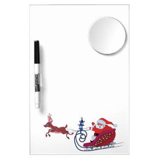 Christmas funny illustration. Santa with Rudolf Dry Erase Board With Mirror