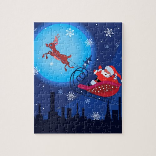 Christmas funny illustration. Santa with Rudolf Jigsaw Puzzle
