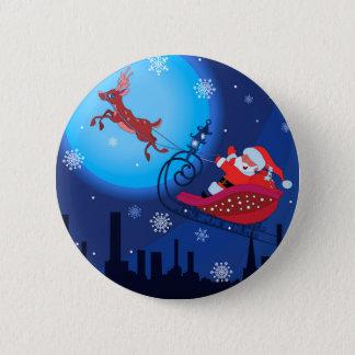 Christmas funny illustration. Santa with Rudolf Pinback Button