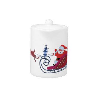 Christmas funny illustration. Santa with Rudolf Teapot
