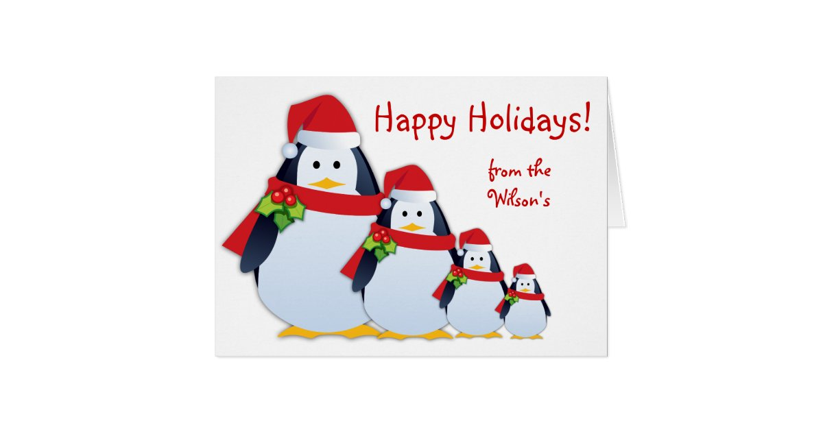 Christmas funny penguin greeting card zazzle for Penguin christmas cards homemade