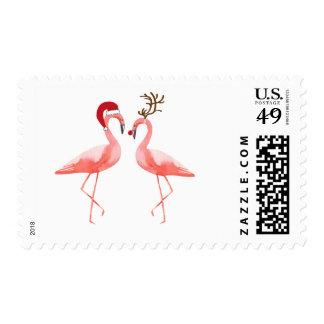 Christmas funny postage couple flamingos