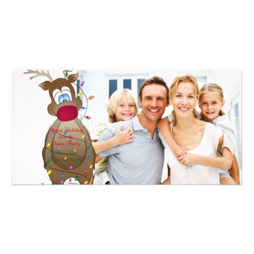 Christmas funny reindeer family photo card zazzle for Funny reindeer christmas cards