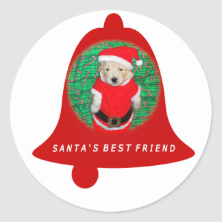 Christmas Funny Santa Puppy Shirts & Gifts Classic Round Sticker