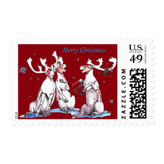 Christmas Funny Singing Caribou Designed Postage