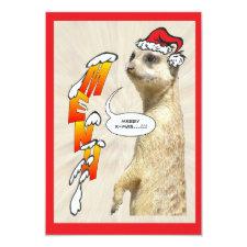 Christmas Furry Meerkat Menu Invitation