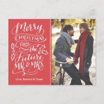 Christmas Future Mr. and Mrs. Photo Save The Date Holiday Postcard