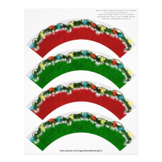 Christmas Garland Cupcake Cosie - RED and GREEN Customized Letterhead