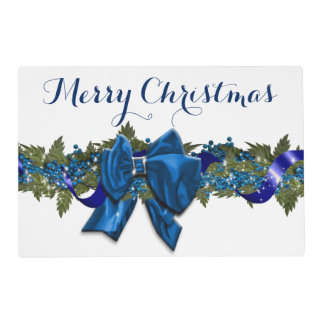 Christmas garland elegant blue placemat