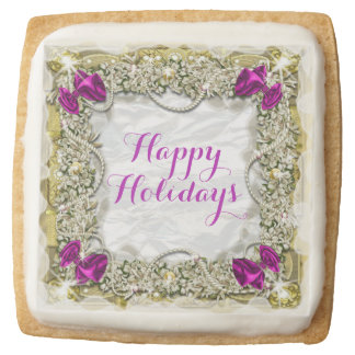Christmas garland greeting pink purple square shortbread cookie