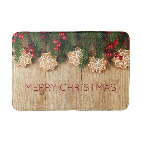 Christmas Garland & Snowflake Cookies Bathmat