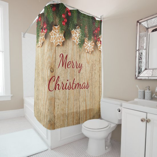Christmas Garland-Snowflake Cookies Shower Curtain