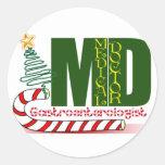 CHRISTMAS GASTROENTEROLOGIST CLASSIC ROUND STICKER