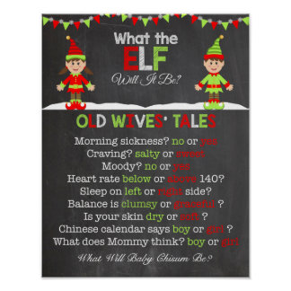 Christmas Gender Reveal Old Wives' Tales Poster