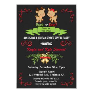 Christmas Gender Reveal Party Buck or Doe Reindeer Card