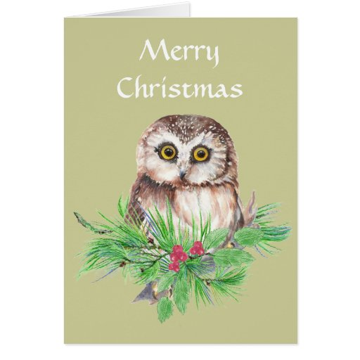 Christmas General  Cute Little Owl, Bird Greeting Cards