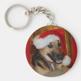 Christmas German Shepherd Basic Round Button Keychain