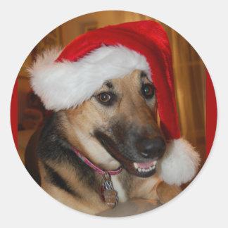 Christmas German Shepherd Classic Round Sticker