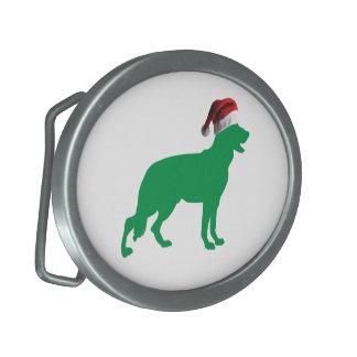 Christmas German Shepherd Oval Belt Buckle