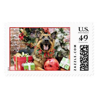 Christmas - German Shepherd - Thor Postage Stamp