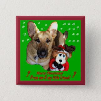 Christmas German Shepherd & Toy Reindeer Button