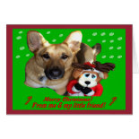 Christmas German Shepherd & Toy Reindeer Greeting Card
