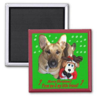 Christmas German Shepherd & Toy Reindeer Magnet
