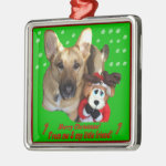 Christmas German Shepherd & Toy Reindeer Metal Ornament