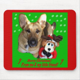 Christmas German Shepherd & Toy Reindeer Mouse Pad