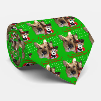 Christmas German Shepherd & Toy Reindeer Neck Tie