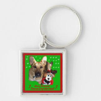 Christmas German Shepherd & Toy Reindeer Silver-Colored Square Keychain