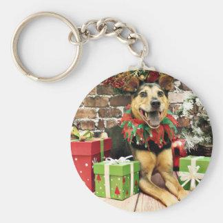 Christmas - German Shepherd X - Bailey Basic Round Button Keychain