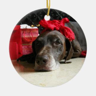Christmas german shorthaired pointer ceramic ornament