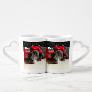 Christmas german shorthaired pointer coffee mug set