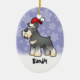Christmas Giant/Standard/Miniature Schnauzer Double-Sided Oval Ceramic Christmas Ornament