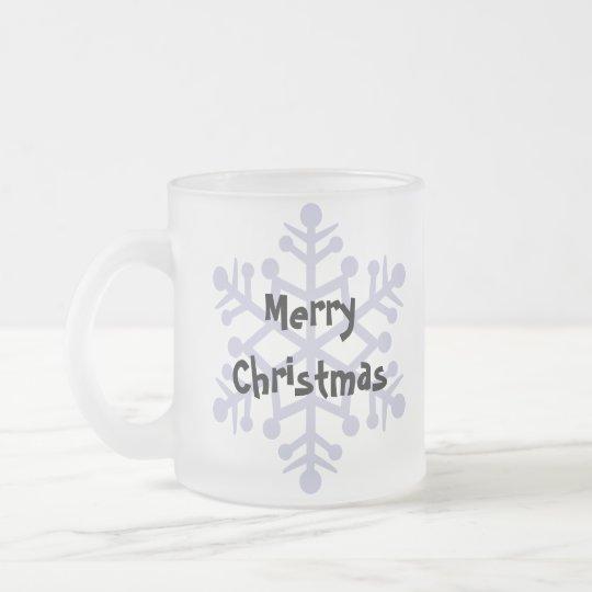 Christmas Giant/Standard/Miniature Schnauzer Frosted Glass Coffee Mug