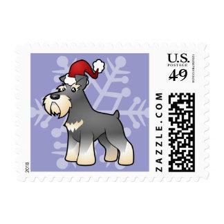 Christmas Giant/Standard/Miniature Schnauzer Postage Stamp
